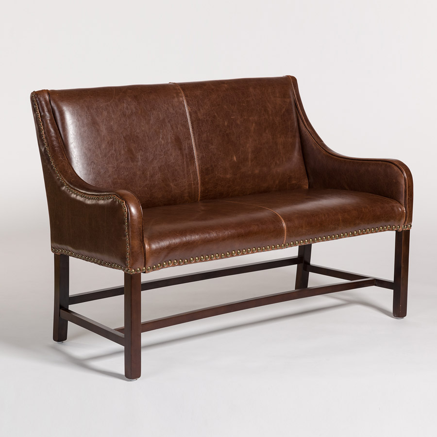 Leather And Tweed Sofa Rounded Western Style Leather And
