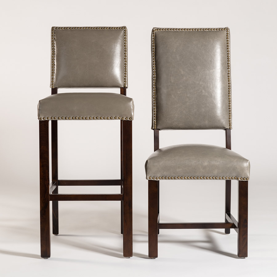 ... Alder Tweed Weston Stool Chair Combo Grayleather ...